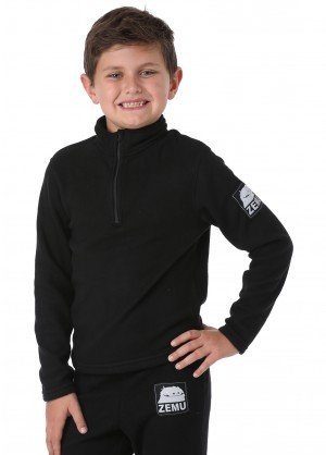 Zemu Little Boys 1/4 Zip Black Fleece Top - WinterKids.com